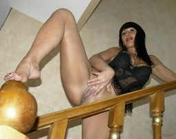 Raunchy MILF lifts his leg and exposes..