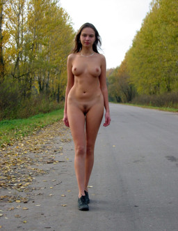 Leggy girlfriend walking nude around..