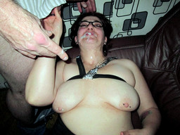 Thick milf swallows cum and rubs his..