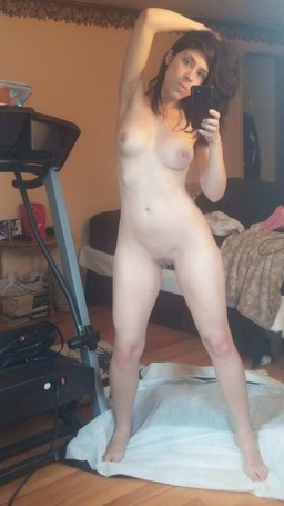 One bored coed shows her naked self..