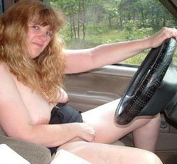 Naked mom in the car amateur photo