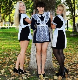 Slavic schoolgirls in short skirts...